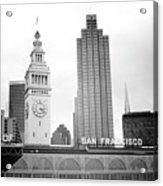 Port Of San Francisco Black And White- Art By Linda Woods Acrylic Print