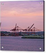 Port Of Seattle During Colorful Sunset Acrylic Print