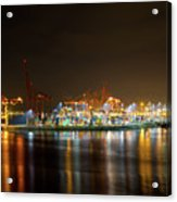 Port Of Vancouver Bc At Night Acrylic Print