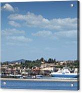 port with ferry boats Corfu Greece Acrylic Print