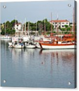 Port With Sailboat And Fishing Boat Acrylic Print