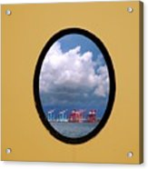 Porthole View Of Container Cranes Acrylic Print