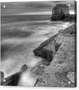 Portland Bill Seascape In Black And White Acrylic Print