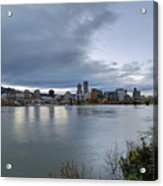 Portland City Downtown Cityscape During Evening Acrylic Print