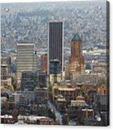 Portland City Downtown Cityscape Panorama Acrylic Print