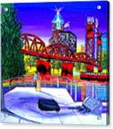 Portland City Lights 62 Over Fire Station #21 Acrylic Print