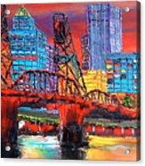 Portland City Lights Over The Hawthorne Bridge Acrylic Print