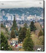 Portland City Skyline From Mount Tabor Acrylic Print