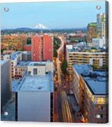 Portland Cityscape Along Morrison Bridge Acrylic Print