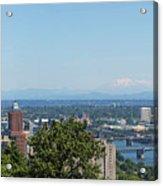 Portland Cityscape And Bridges On A Clear Blue Day Acrylic Print
