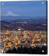 Portland Cityscape During Blue Hour Acrylic Print