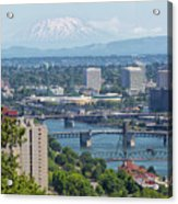 Portland Cityscape With Mount Saint Helens View Acrylic Print
