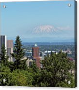 Portland Downtown Cityscape With Mount Saint Helens View Acrylic Print