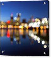 Portland Downtown Skyline Blue Hour Blurred Defocused Bokeh Acrylic Print