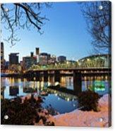 Portland Downtown Winter Night Scene Acrylic Print