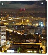 Portland Fremont Bridge Light Trails At Night Acrylic Print