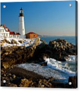 Portland Head Light - Lighthouse Seascape Landscape Rocky Coast Maine Acrylic Print by Jon Holiday