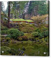 Portland Japanese Garden By The Lake Acrylic Print