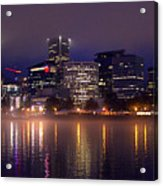 Portland Night Skyline Acrylic Print