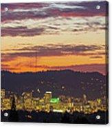 Portland Oregon City Skyline Sunset Panorama Acrylic Print