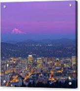 Portland Oregon Cityscape At Dusk Acrylic Print