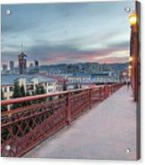 Portland Oregon Downtown On Broadway Bridge Acrylic Print