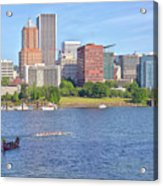 Portland Oregon Skyline And Rowing Boats. Acrylic Print