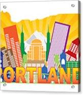 Portland Oregon Skyline In State Map Acrylic Print