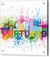 Portland Oregon Skyline Paint Splatter Text Illustration Acrylic Print