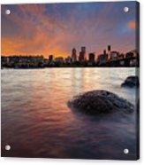 Portland Skyline Along Willamette River At Sunset Acrylic Print