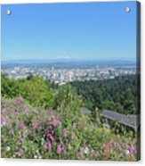 Portland Skyline With Mount Hood Acrylic Print