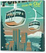 Portland Poster - Tram Retro Travel Acrylic Print