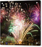 Portland Waterfront 4th Of July Fireworks Acrylic Print