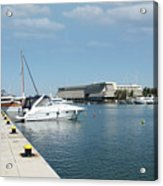 Porto Carras Harbor With Yacht And Resort Acrylic Print