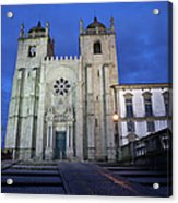 Porto Cathedral By Night In Portugal Acrylic Print