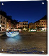 Portofino Bay By Night IIi- Piazzetta Di Portofino By Night Acrylic Print