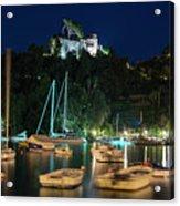 Portofino Bay By Night Iv - Castello Brown Castle Acrylic Print