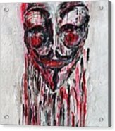 Portrait Melting Of Anonymous Mask Chan Wikileak Occupy Guy Fawkes Sopa Mpaa Pirate Lulz Reddit Acrylic Print