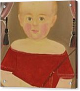 Portrait Of A Blonde Boy With Red Dress With Whip Acrylic Print