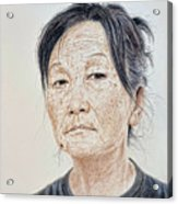 Portrait Of A Chinese Woman With A Mole On Her Chin Acrylic Print