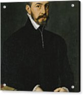 Portrait Of A Gentleman Half-length Wearing A Black Suit Acrylic Print