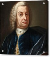 Portrait Of A Gentleman Half Length Wearing A Wig And A Blue Velvet Cape Acrylic Print