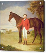 Portrait Of A Gentleman With His Horse Acrylic Print