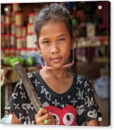 Portrait Of A Khmer Girl - Cambodia Acrylic Print
