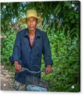 Portrait Of A Khmer Rice Farmer - Cambodia Acrylic Print