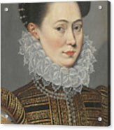 Portrait Of A Lady Head And Shoulders In A Lace Ruff Acrylic Print