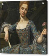 Portrait Of A Lady In An Elaborately Embroidered Blue Dress Acrylic Print