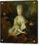 Portrait Of A Lady Seated In A Landscape With Her Pet Dog And A Monkey Acrylic Print