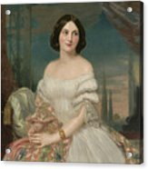 Portrait Of A Lady Sitting Under A Pergola Acrylic Print