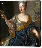 Portrait Of A Lady Three-quarter-length Holding Flowers Acrylic Print